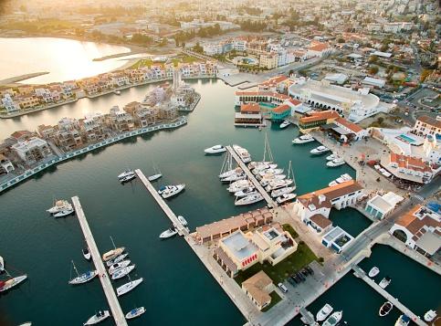 Aerial view of Limassol Marina, Cyprus