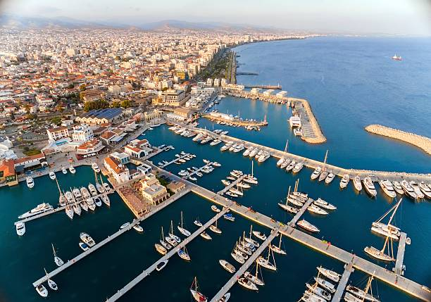 Aerial view of Limassol Marina, Cyprus stock photo