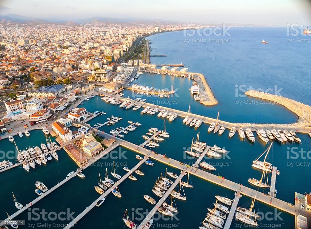 Aerial view of Limassol Marina, Cyprus royalty-free stock photo
