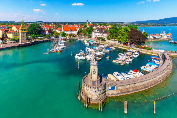 Aerial view of Lindau, Bodensee, Germany Scenic summer aerial view of the Old Town pier architecture in Lindau, Bodensee or Constance lake, Germany Bodensee stock pictures, royalty-free photos & images