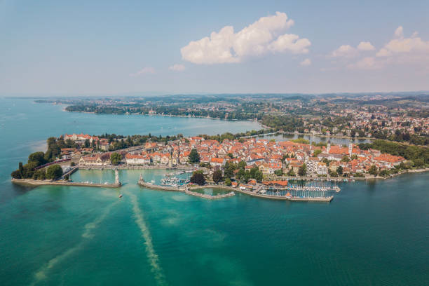 Aerial view of Lindau Aerial view of Lindau, town on lake Bodensee Bodensee stock pictures, royalty-free photos & images