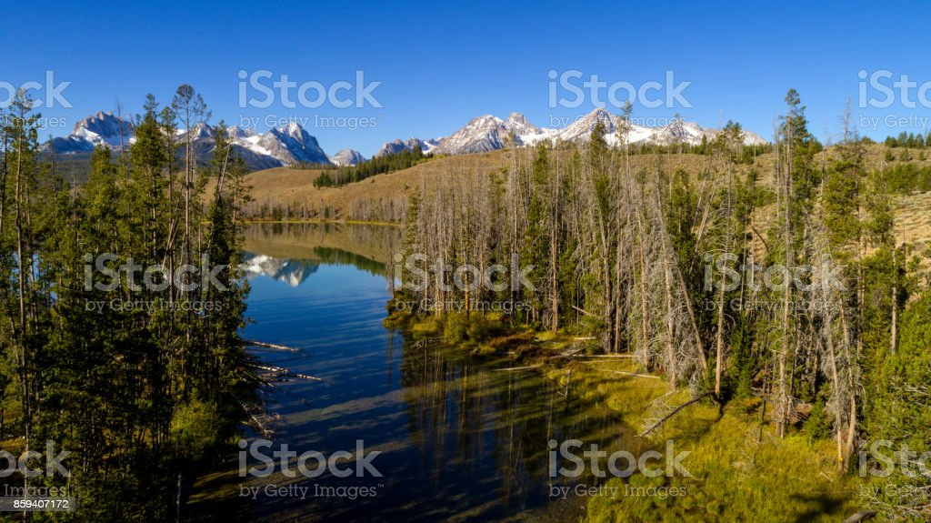 Aerial view of Little Redfish Lake outlet in the Idaho mountains stock photo