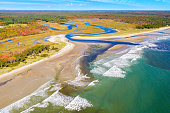 Aerial view of Little River estuary in Wells Estuarine Reserve, Maine