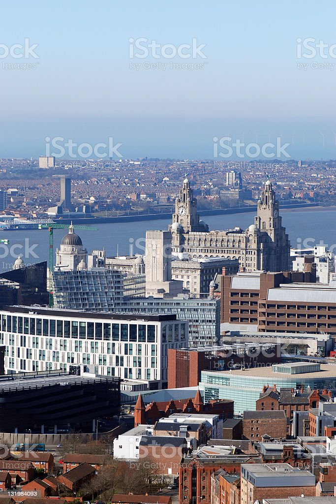 Aerial view of Liverpool royalty-free stock photo