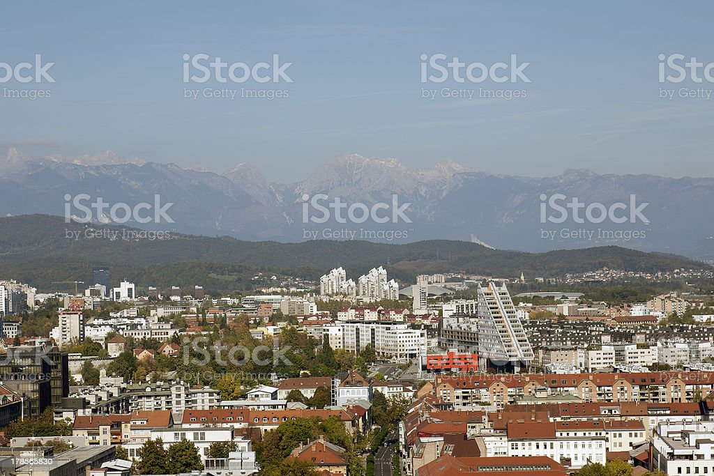 Aerial view of Ljubljana royalty-free stock photo