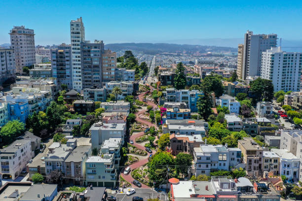 Aerial View of Lombard Street and Golden Gate Bridge stock photo