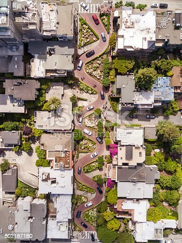 Aerial views of Lombard Street and San Francisco, California