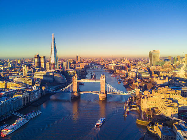 Aerial view of London and the River Thames Aerial cityscape view of London and the River Thames, England, United Kingdom london england stock pictures, royalty-free photos & images