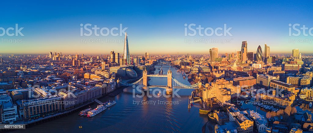 Aerial view of London and the River Thames - Royalty-free 122 Leadenhall Street Stock Photo