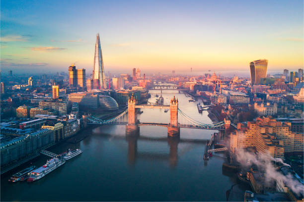 Aerial view of London and the Tower Bridge Aerial view of London and the Tower Bridge, England, United Kingdom london stock pictures, royalty-free photos & images