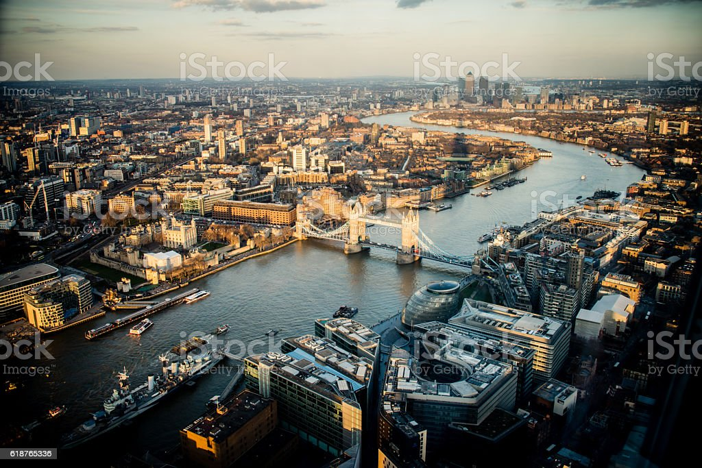 Aerial View of London at Sunset stock photo