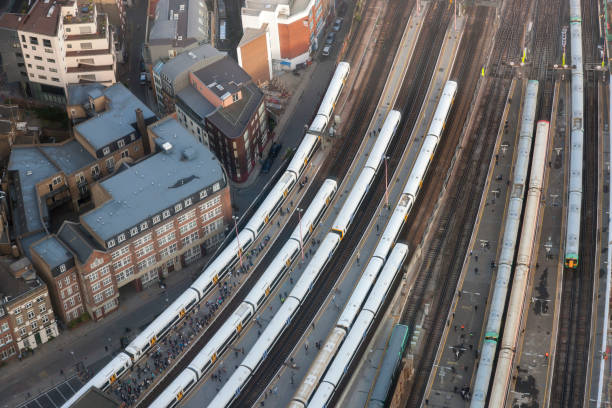 aerial view of london bridge station with trains and platforms, london - land vehicle stock photos and pictures
