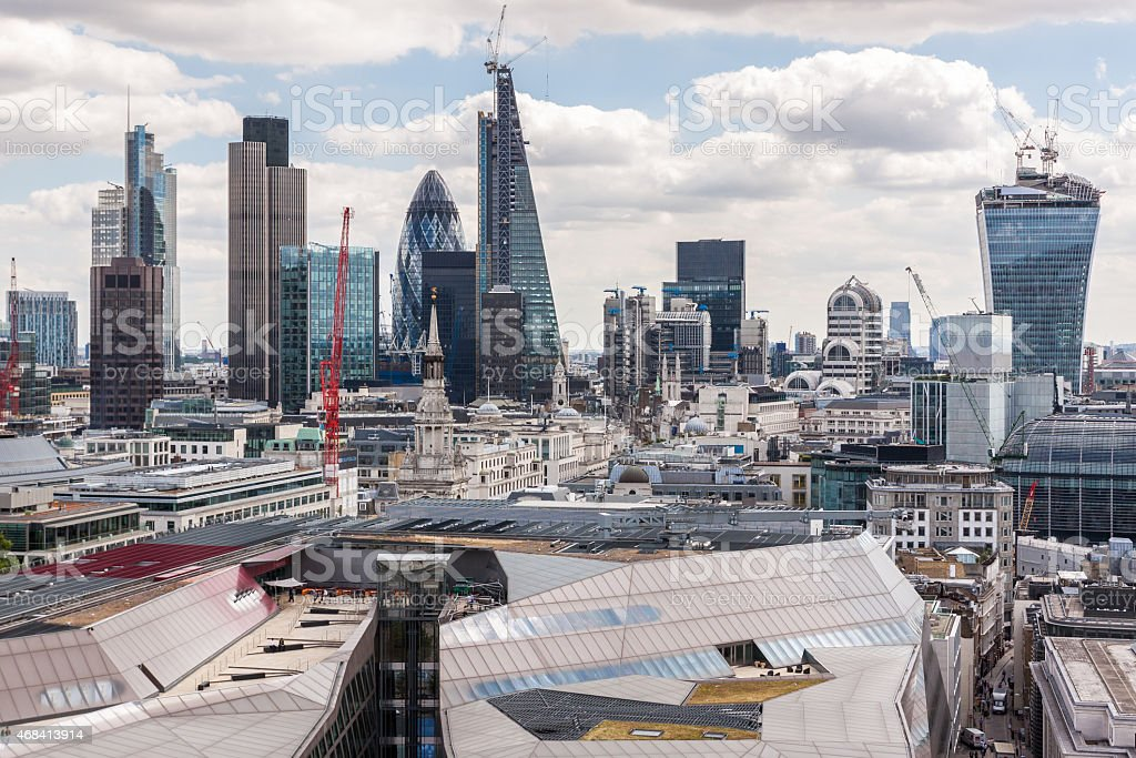 Aerial view of London from St Paul's Cathedral stock photo