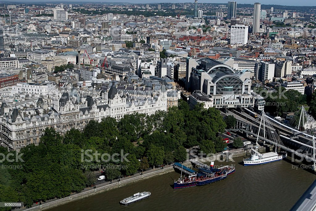 Aerial View of London near Charing Cross royalty-free stock photo