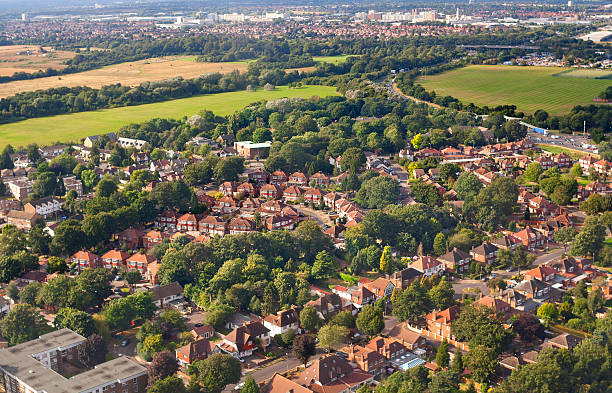 Aerial view of London outskirts, England stock photo
