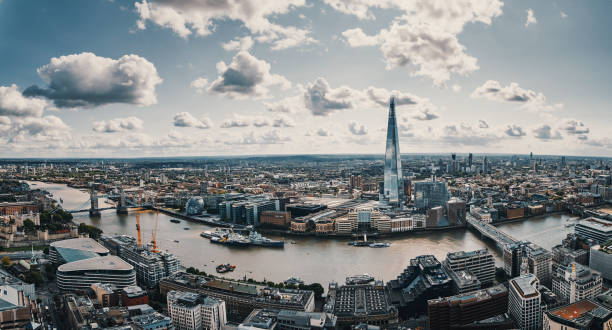 aerial view of london - london england stock photos and pictures