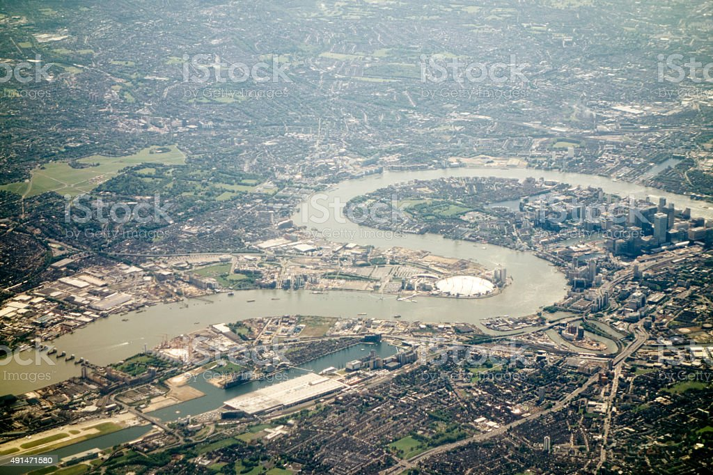 Aerial view of London, River Thames and O2 Arena stock photo