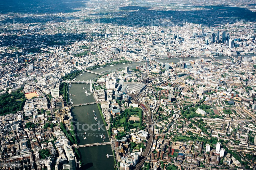 Aerial view of London, River Thames, London to Westminster Bridge stock photo