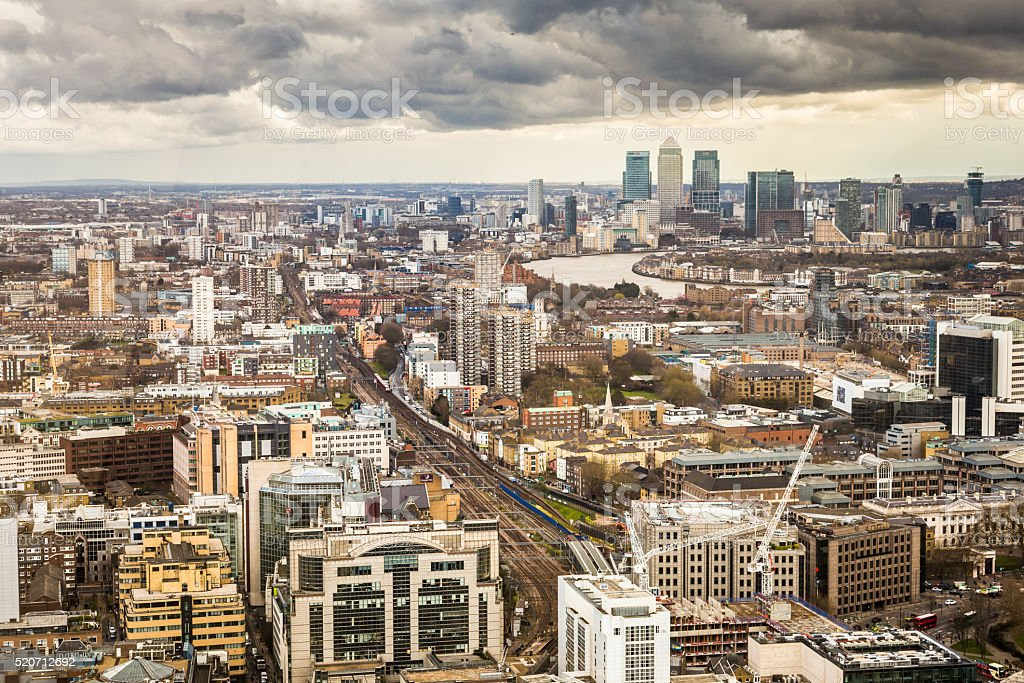 Aerial view of London Skyline and Canary Wharf stock photo