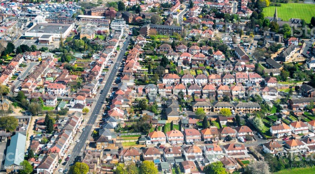 Aerial View of London Suburban Housing stock photo