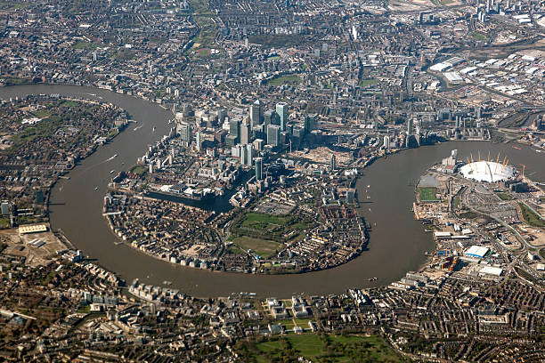 aerial view of london, united kingdom - canary wharf stock-fotos und bilder