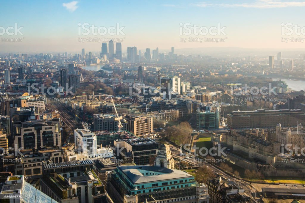 aerial view of London with Canary Wharf in the background royalty-free stock photo