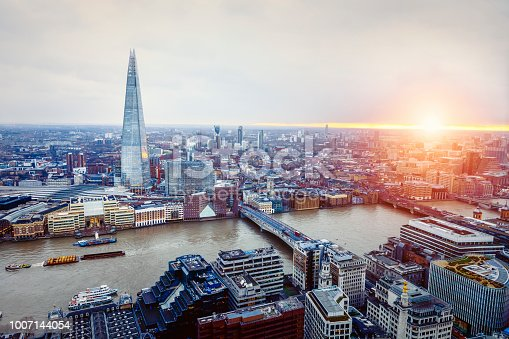 Aerial View of London with Shard and River Thames, UK
