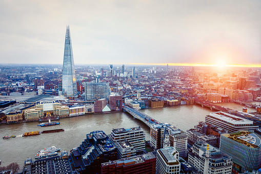 Aerial View of London with Shard and River Thames