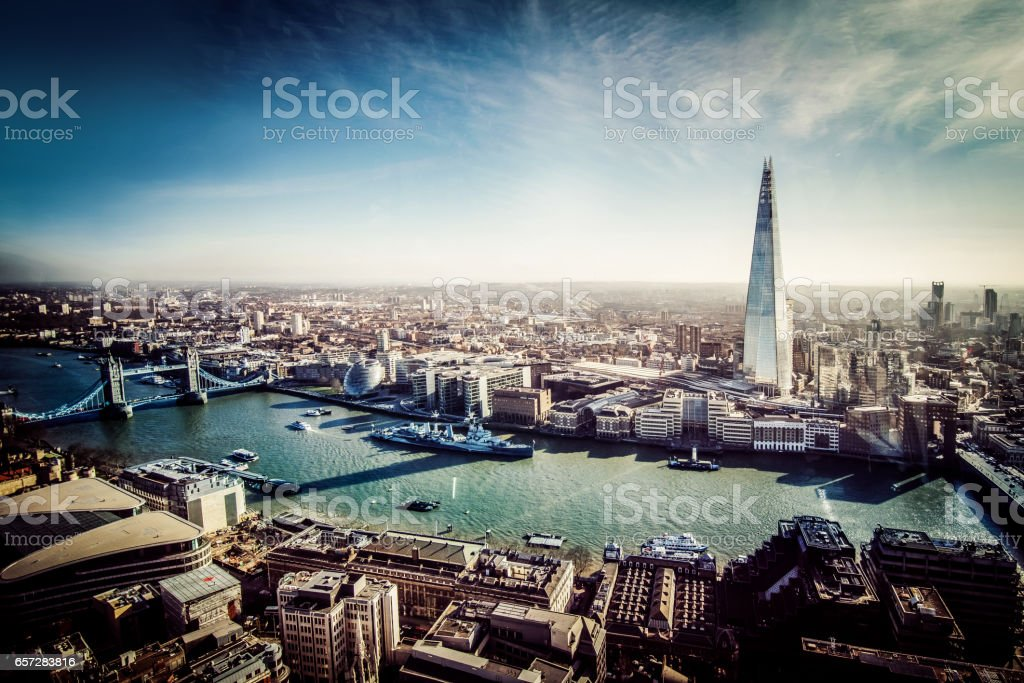 Aerial View of London with Shard and River Thames stock photo