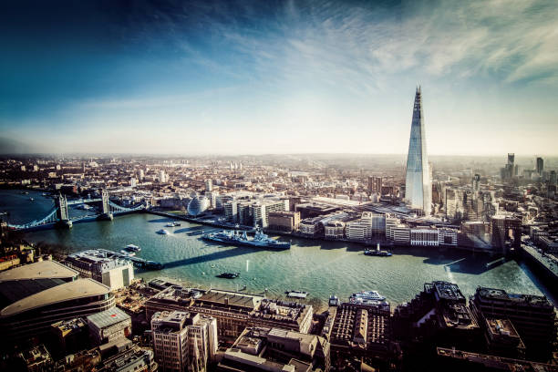 aerial view of london with shard and river thames - london england stock photos and pictures