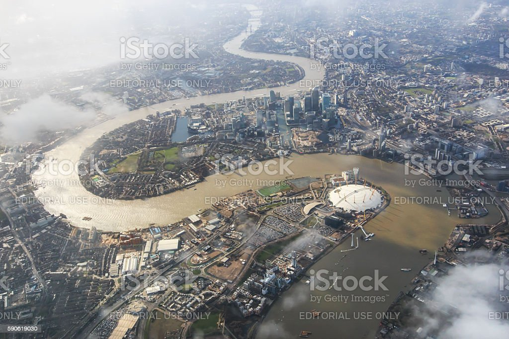 Aerial view of London with the river Thames stock photo