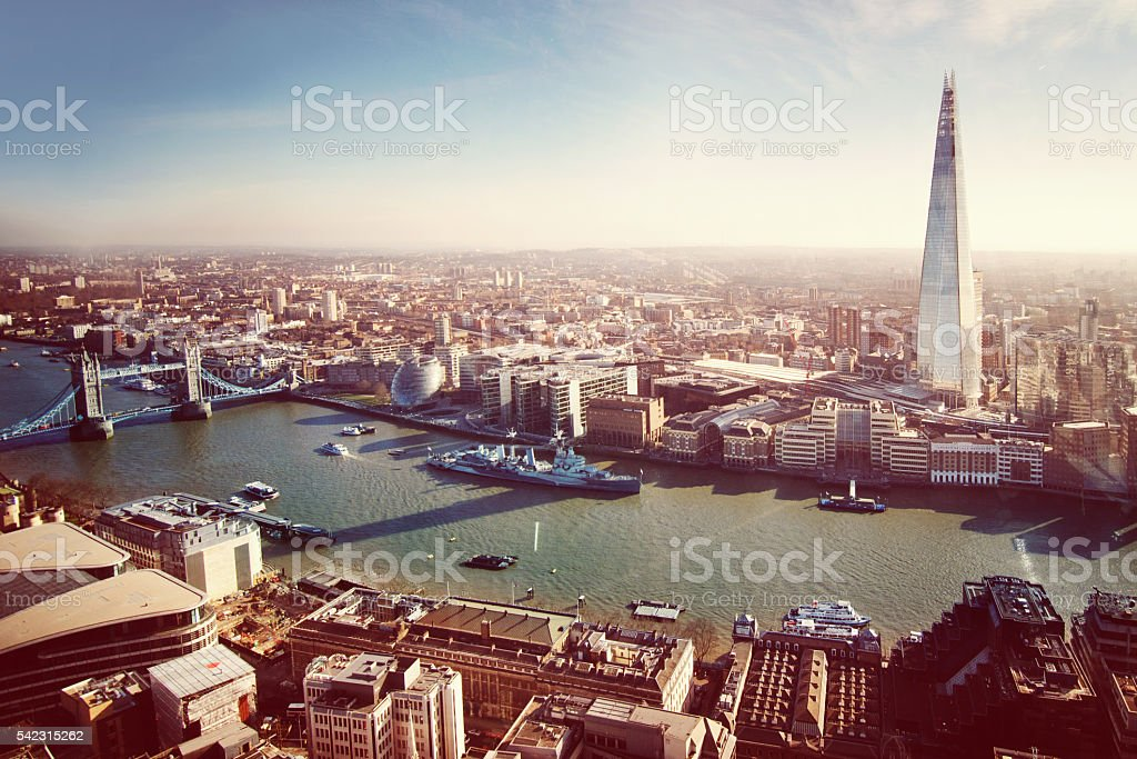 Aerial View of London with the Shard, Retro Look stock photo