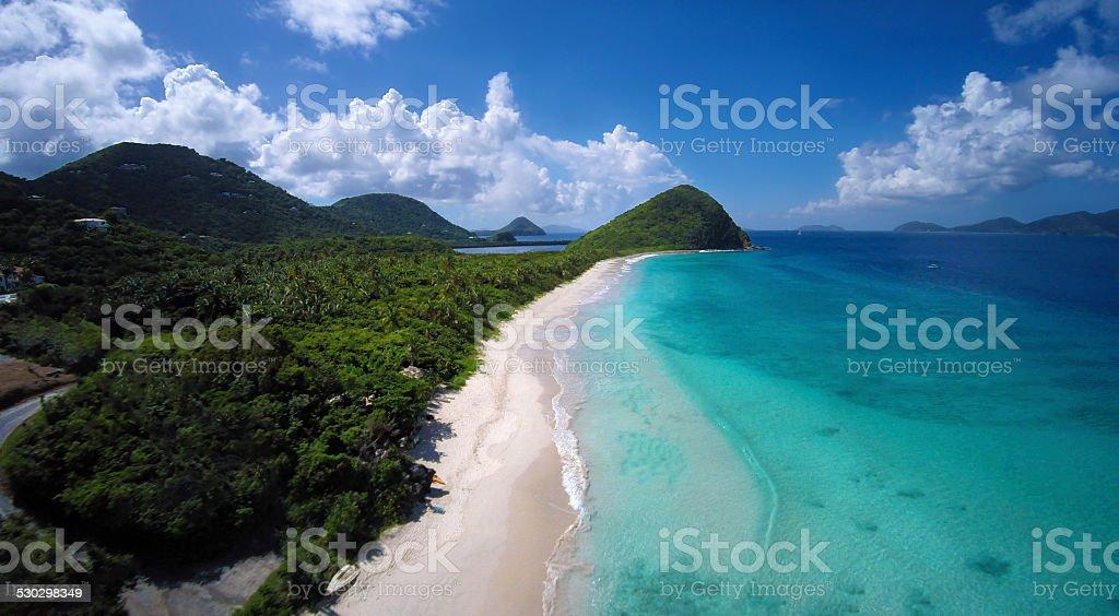 aerial view of Long Bay Beach in Tortola, BVI stock photo