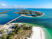 Aerial view of Longboat Key town and beaches in Manatee and Sarasota counties along the central west coast of the U.S. state of Florida.