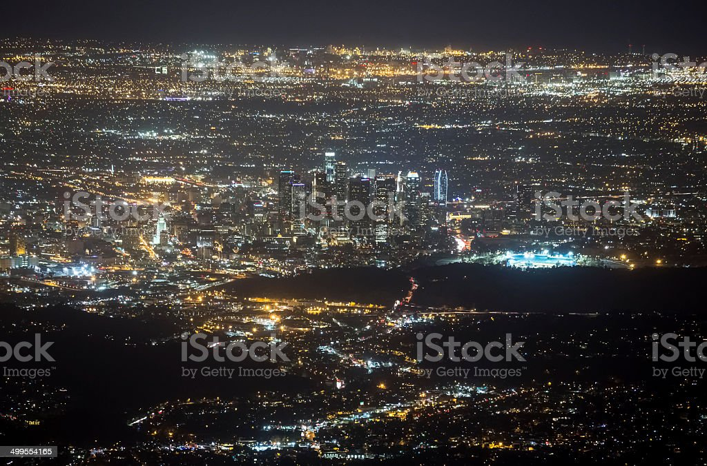 Aerial View of Los Angeles at Night stock photo
