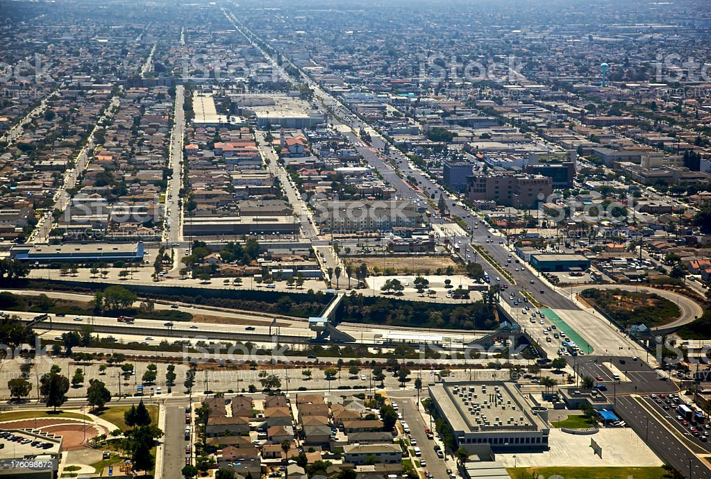 Aerial View of Los Angeles California at Inglewood royalty-free stock photo