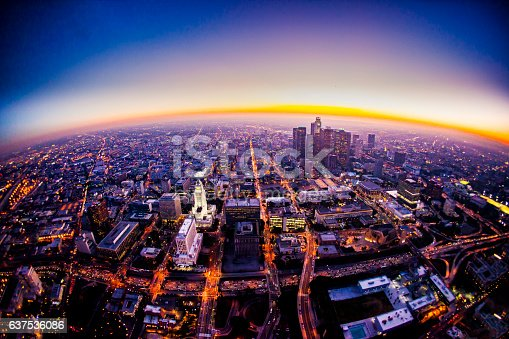 istock Aerial View of Los Angeles Skyline at Sunset 637536086