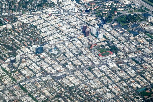 High angle (wide shot) of urban neighborhoods in the Los Angeles Metropolitan Area - Los Angeles, California, USA