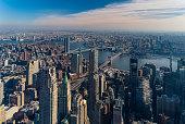 Aerial view of Lower East Side, downtown, Brooklyn Bridge and Manhattan Bridge, New York City.