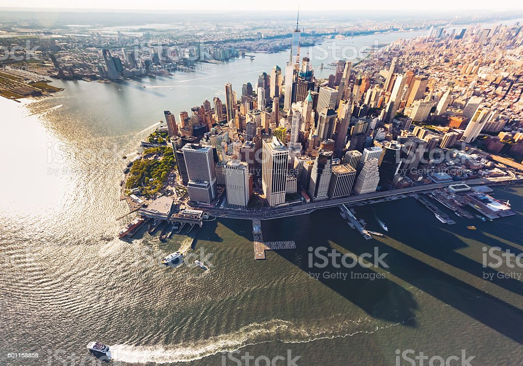 Aerial view of lower Manhattan New York City stock photo