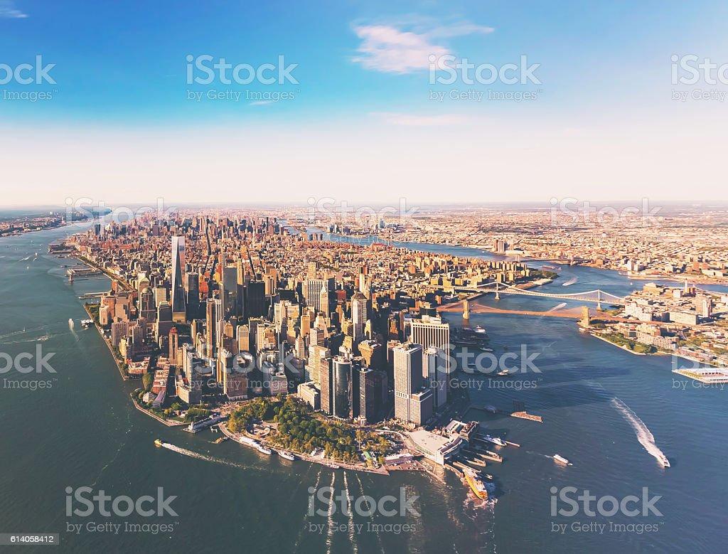 Aerial view of lower Manhattan New York City stock photo