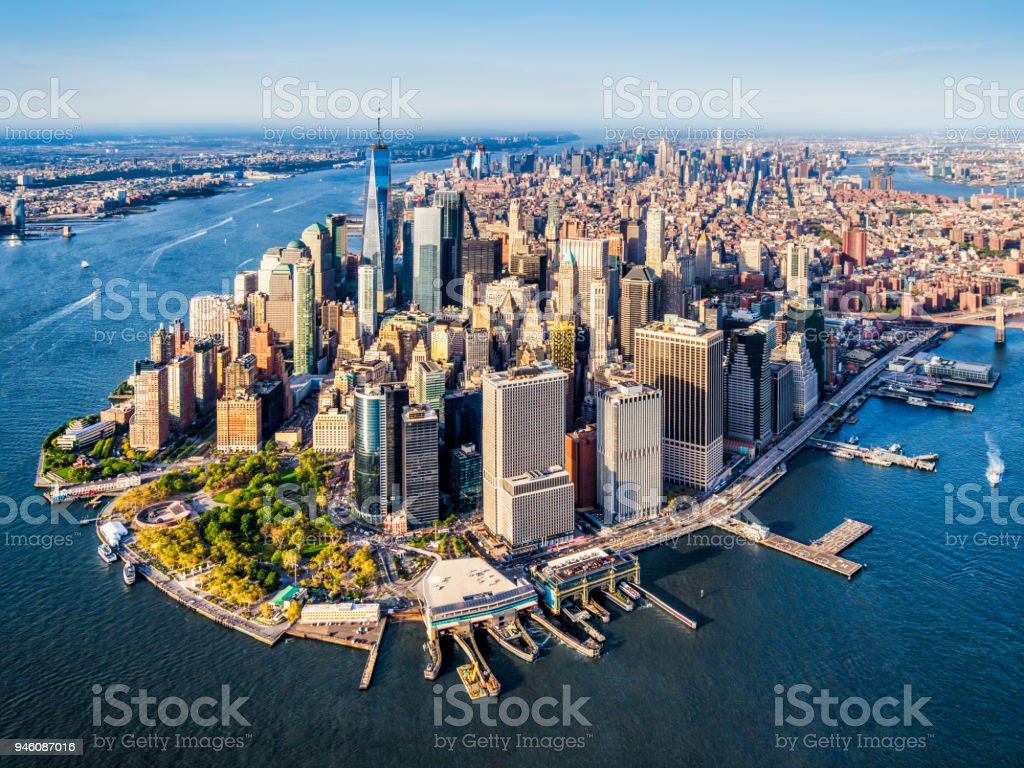 aerial view of Lower Manhattan. New York royalty-free stock photo