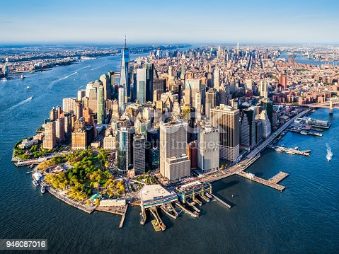 Aerial view of Lower Manhattan at sunset. New York. USA