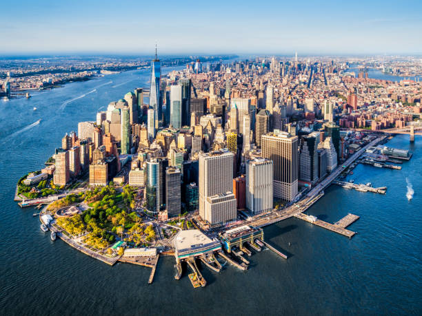 aerial view of Lower Manhattan. New York Aerial view of Lower Manhattan at sunset. New York. USA new york state stock pictures, royalty-free photos & images