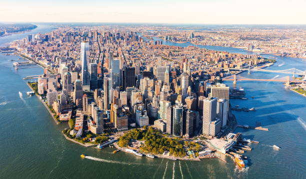 Aerial view of lower Manhattan NYC stock photo