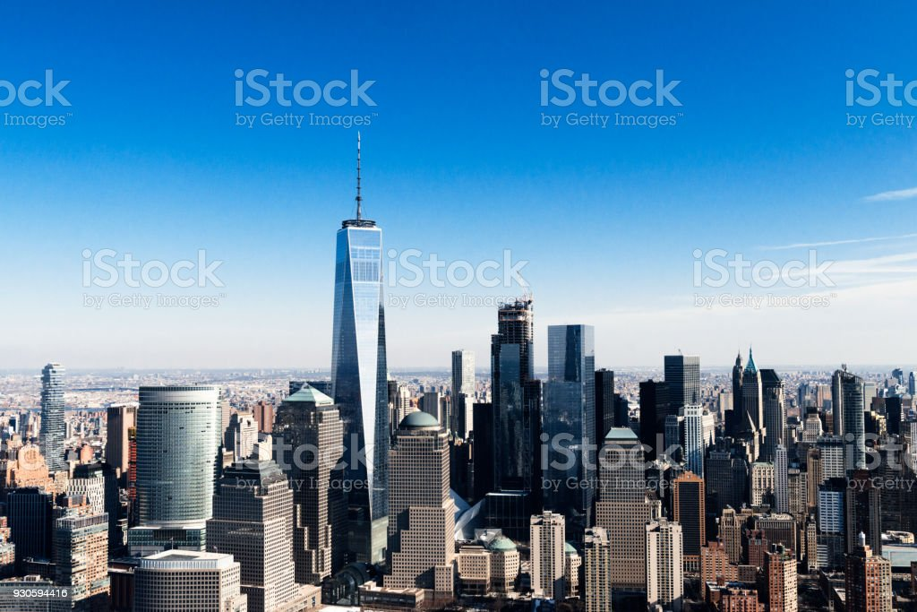 Aerial view of Lower Manhattan skyline through helicopter in New York City, NY, USA stock photo