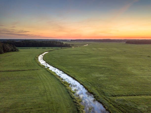 Aerial view of lowland river stock photo