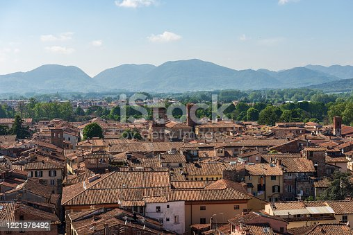 Aerial view of Lucca old town from the Guinigi Tower (Torre dei Guinigi). Tuscany, Italy, Europe