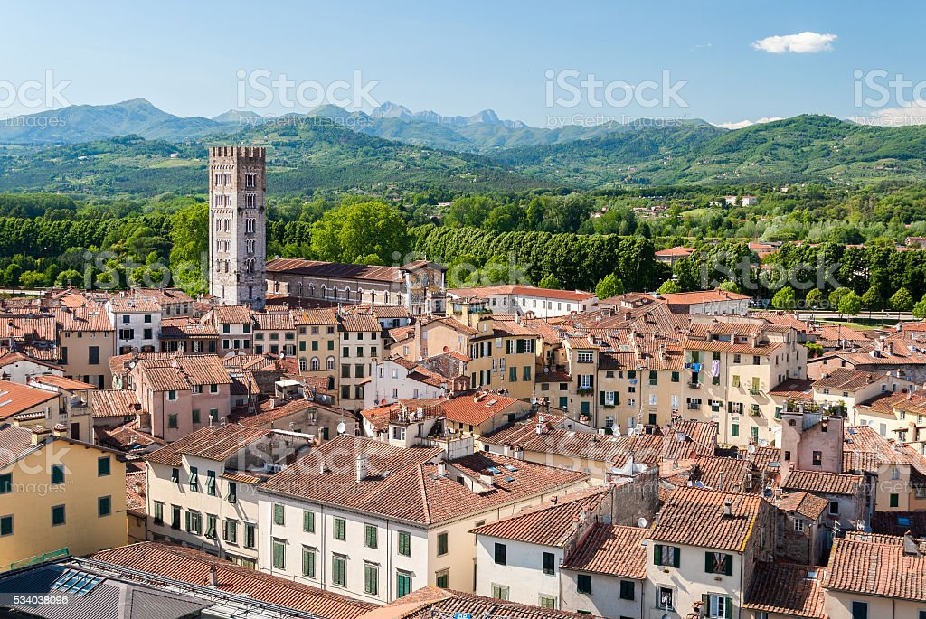 Aerial view of Lucca, in Tuscany, during a sunny afternoon stock photo