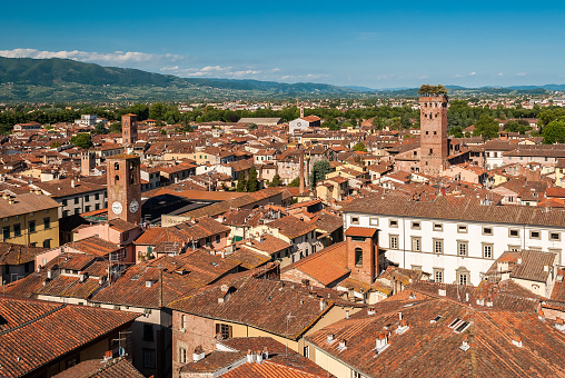 istock Aerial view of Lucca, in Tuscany; the tower on the right is called